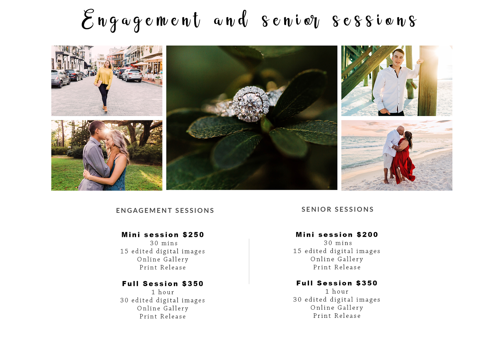 engagement and senior photos prices
