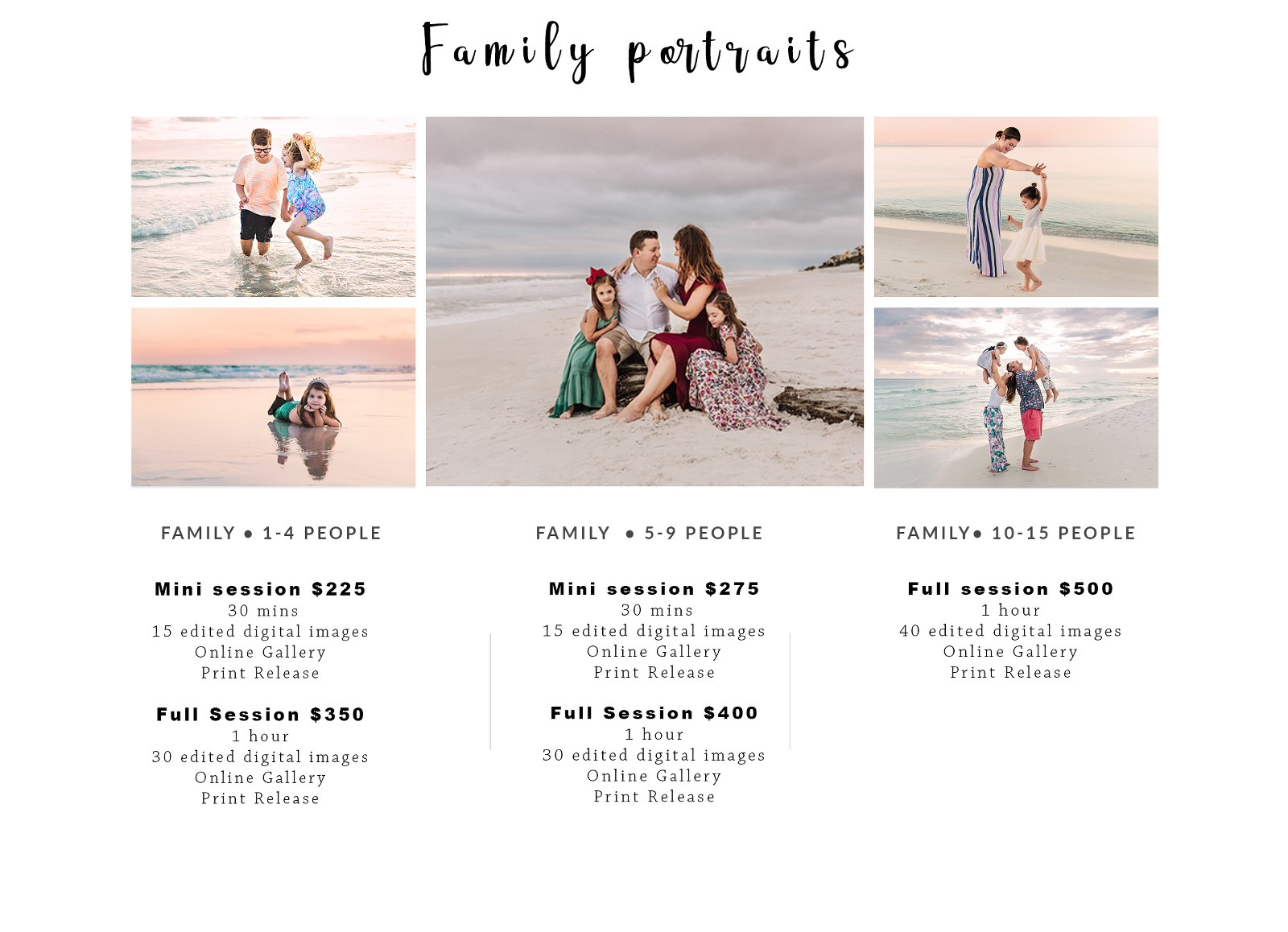 family beach photography prices
